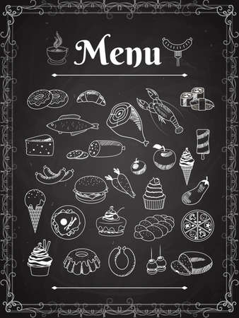 vector food menu elements on chalk board Vektorové ilustrace