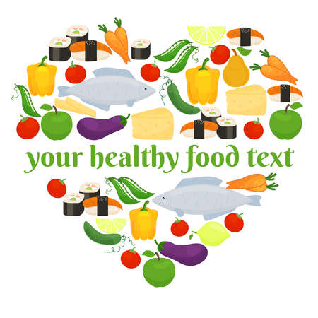 Various foods consisting of fish and vegetables in heart shape arrangement on white background