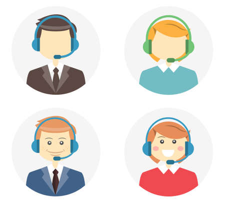 Call center operator icons with a smiling friendly man and woman wearing headsets and a second variation where they are featureless or faceless on round web buttons vector illustration