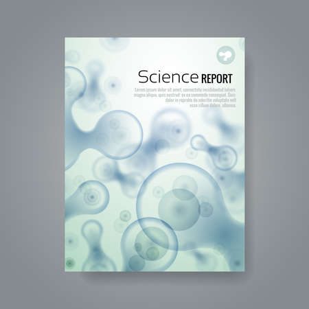 Scientific report. Banner with particles background and text. Biology and medicine, pattern molecular, microscopic element, vector illustration