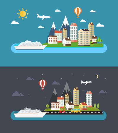 Urban landscape in flat style. City by day and night vector illustration