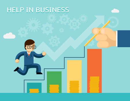 Help in business concept. Partnerships and mentoring. Mentor and success, advice, and partner, vector illustration Vektoros illusztráció