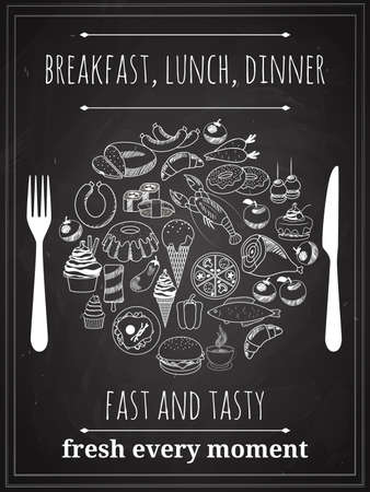 Vector Vintage Breakfast, Lunch or Dinner Poster Background