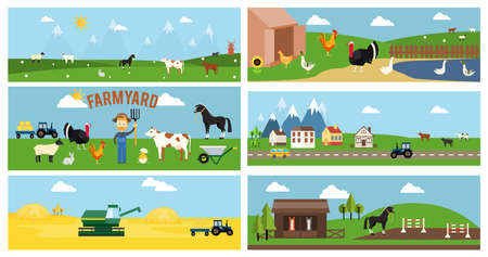 Beautiful Vector Farmyard Cartoon Banner for Web Pages and Other Graphic Designs