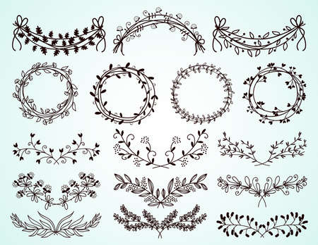 Set of dainty black and white hand-drawn floral and foliate borders and wreaths for decorative design elements on greeting cards and invitations