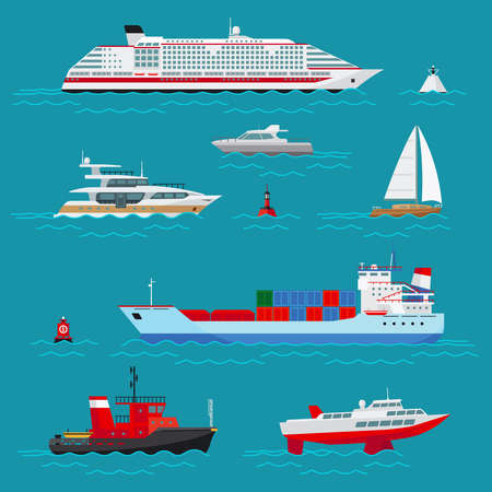 Sea ships flat icons. Sea transport, ocean transportation, delivery and shipping, buoy and boat, cruise liner and tow, vector illustration