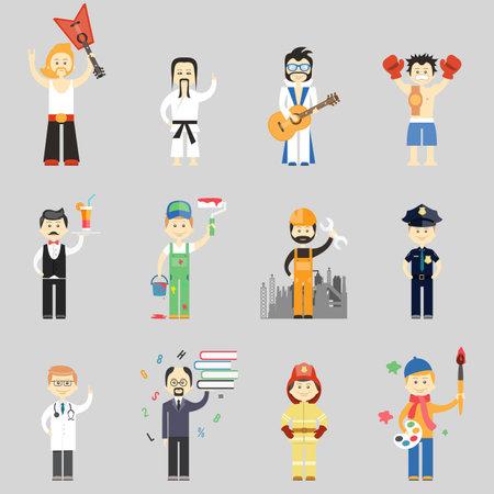 Set of vector characters in different professions including martial arts musicians waiter painter construction worker policeman doctor professor fireman and artist Vektoros illusztráció