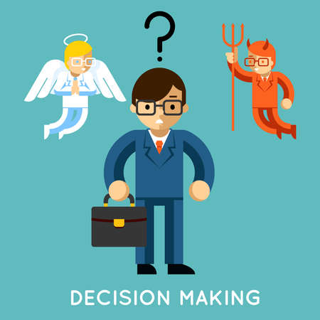 Decision making. Businessman with angel and demon. Choice good and bad, conflict dilemma, vector illustration