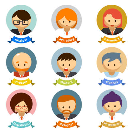Variety Office Cartoon Character Avatars with Ribbons Isolated on White Background.