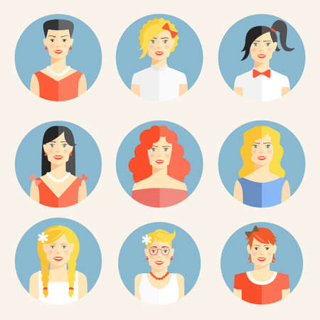 Set of nine color flat round icons with portraits of fashionable young blond brunette or red-haired women with elegant clothes and different fancy hairstyles and accessories as necklaces or bows Vettoriali