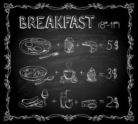 Vector template Breakfast chalkboard menu Vintage Poster