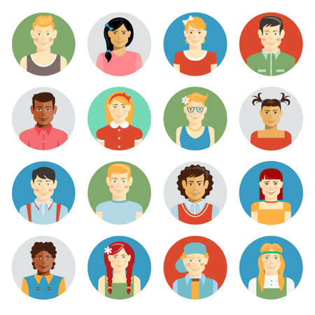 Colorful smiling children vector avatar set with multiracial children of diverse ethnicity boys and girls different hairstyles and clothing on round web buttons for online representation Vettoriali