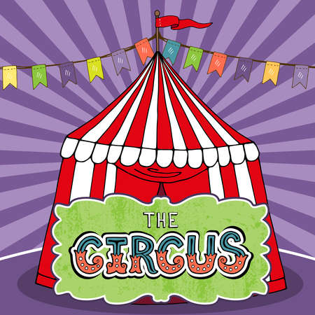 Circus tent poster template. Red-white awning on the purple background. Vector illustration