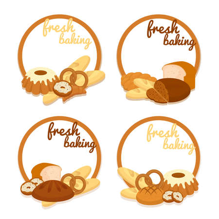 Set of colorful vector Fresh Baking price badges with round frames enclosing copyspace and an assortment of bread bagels pretzels cakes croissants muffins and donuts arranged at the bottom
