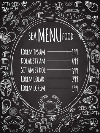 Seafood chalkboard menu with a central oval frame with a list of prices surrounded by white vector line drawings of fish calamari lobster crab sushi shrimp prawn mussel salmon steak and herbs