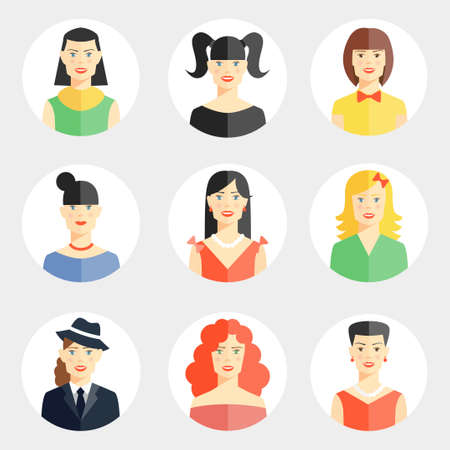 Set of nine different vector beautiful young woman faces in flat style showing diversity of clothing hair color hairstyle for use as avatars on round web buttons
