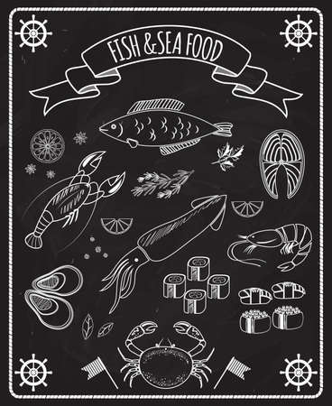 Fish and seafood blackboard vector elements with white line drawings of fish ships wheels calamari lobster crab sushi shrimp prawn mussel salmon steak in a frame with a ribbon banner Vecteurs