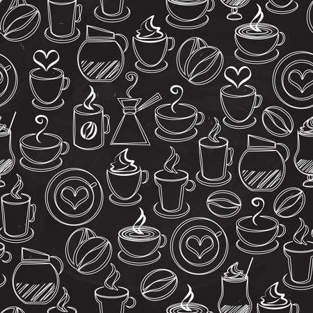 Coffee seamless background vector pattern with white icons on black of a coffee pot and percolator steaming mugs and cups beans hearts espresso filter cappuccino and iced coffee in square format