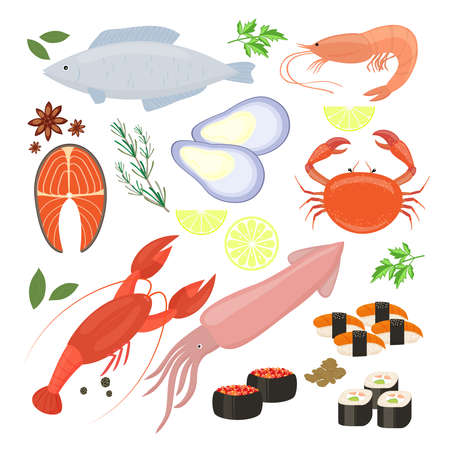 Selection of colorful vector seafood shrimp and sushi icons including cuttlefish calamari fish lobster crab sushi sushi rolls shrimp prawn mussel salmon steak spices and seasonings