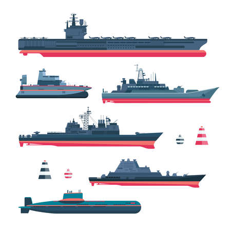 Militaristic ships icons set. Navy ammunition, warship and submarine, nuclear battleship, float and cruiser, trawler and gunboat, frigate and ferry, vector illustration