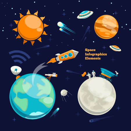 Conquest of space. Space infographics elements. Planet earth, sun and galaxy, spaceship and star, moon and astronaut, vector illustration
