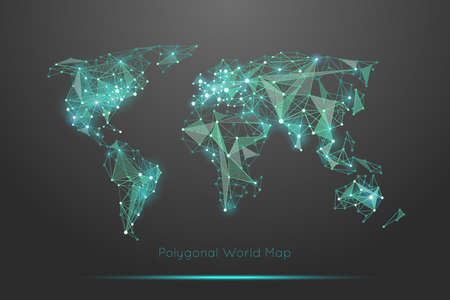 Polygonal world map. Global travel geography and connect, continent and planet, vector illustration