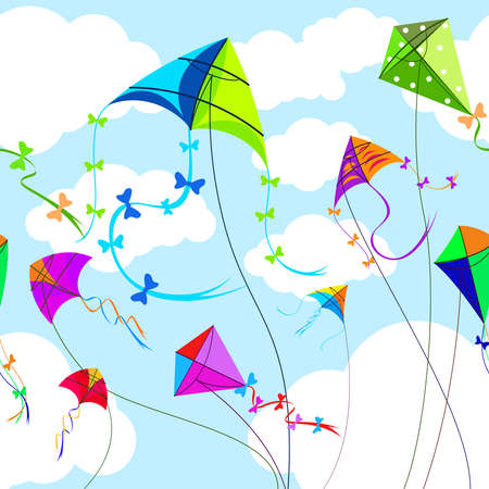 Kites and sky with clouds horizontal seamless background. Toy and play, wind and game, sky and freedom