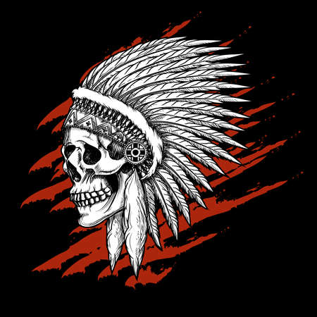 Indian tribal skull with feathers emblem. Aztec and mohawk, apache and warrior. Vector illustration