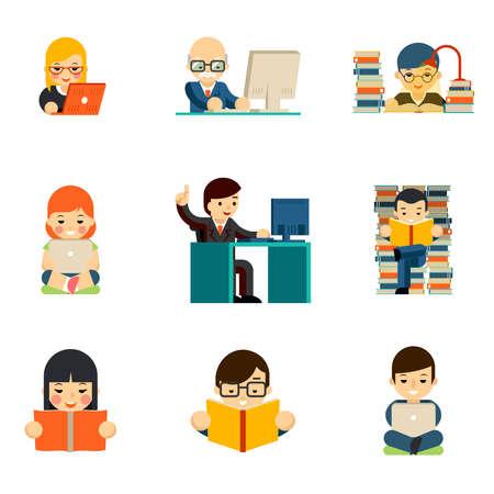 People working on computer. Work person businessman, laptop communication, read and education. Vector illustration Ilustração Vetorial