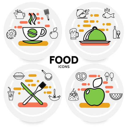 Food line icons concept with coffee beer wine fish chicken apple soda burger sausage pretzel cake kitchen utensil isolated vector illustration
