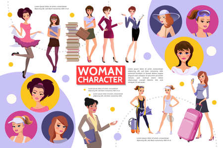 Flat woman characters infographic concept with different hairstyle sportswomen students businesswomen secretary tourist fashionable ladies girls in casual clothes vector illustration