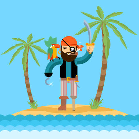 Pirate on treasure island. Palm and ocean, beach and adventure, bearded man. Vector illustration