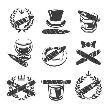 Cigars logo set. Tobacco and nicotine, addiction and drink. Vector illustration