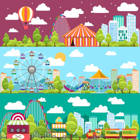 Flat design conceptual city banners with carousels. Slides and swings, ferris wheel attraction, vector illustration