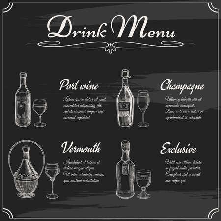 Drink menu elements on chalkboard. Restaurant blackboard for drawing. Hand drawn chalkboard menu vector illustration