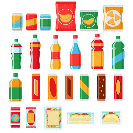 Fast food snacks and drinks flat vector icons. Vending machine products, Snack food, chip product, pack snack illustration Vector Illustratie