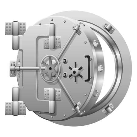 Half-open bank vault door on white. Safe bank, metal door safe, lock security bank, open safe bank. Vector illustration