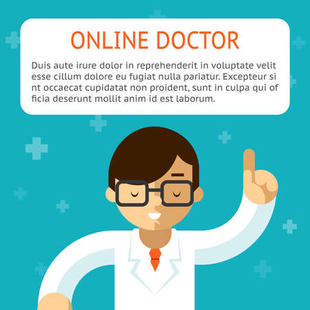 Doctor online on the turquoise background. Advice and treatment, indication and recipe. Vector illustration