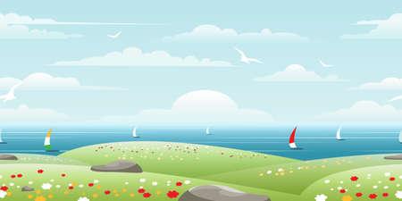 Sea landscape with sails on horizon seamless pattern