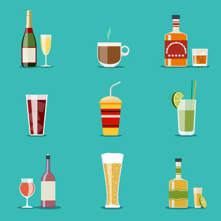 Drink flat icons. Alcohol and beer, wine bottles. Cocktail and champagne, wineglass and tequila, coffee mug, cognac and juice. Vector illustration Vetores