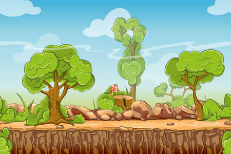 Country seamless landscape in cartoon style. Nature panorama, green tree outdoor, vector illustration Vector Illustration
