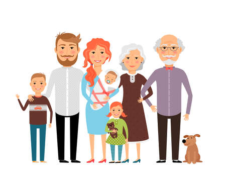 Big happy family. Father mother son daughter grandfather grandmother. Vector illustration