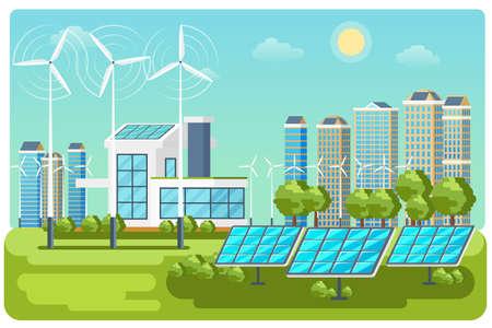 Green energy urban landscape vector. Ecology nature, eco house building. Green energy eco city vector landscape illustration Vecteurs
