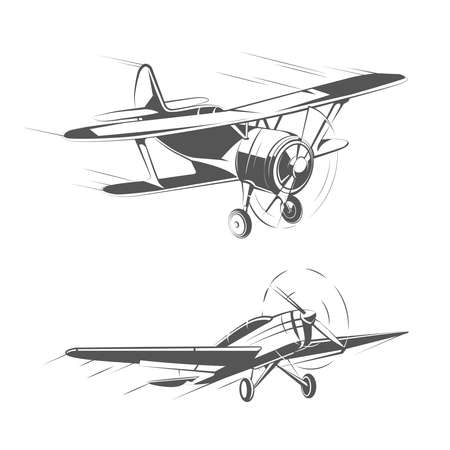 Biplane and monoplane aircrafts for vintage emblems, badges and logos vector set. Aviation airplane transportation illustration