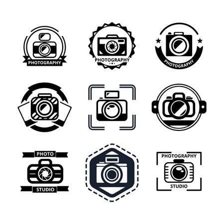 Vintage photography badges or logos set. Camera and photo, lens and studio, media and shutter, vector illustration