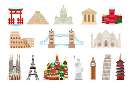 World landmarks icons in flat style. Coliseum and kremlin, bridge and taj mahal, statue liberty, big ben, eiffel and pisa tower. Vector illustration Vettoriali