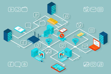 Vector isometric data infographics. Information and technology, growth and seo, database and process illustration Ilustração Vetorial