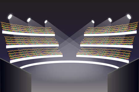 Coliseum arena stage. Auditorium and amphitheatre, balcony and tribune, ceremony and building theater, vector illustration