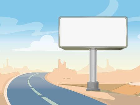 Road advertising billboard and desert landscape. Commercial frame blank outdoor. Vector illustration