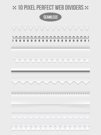 Set of seamless web page dividers with shadows. Frame and bookbinder and wavy. Vector illustration